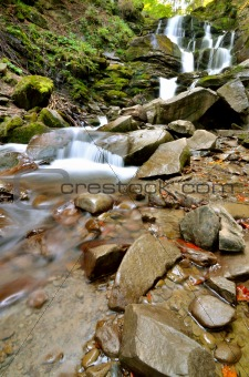Clear Waterfall Flowing Vertical