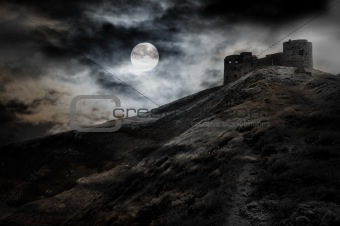 Night, moon and dark fortress