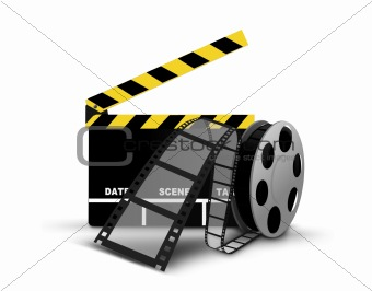 Clapperboard and film reel
