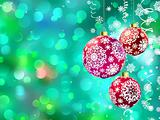 Christmas with multicolor baubles. EPS 8
