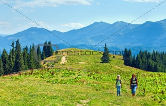 Summer mountain plateau landscape and family