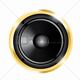 illustration of golden audio speaker
