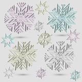vector  3d snowflakes