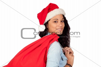 Attractive woman with Christmas hat