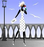 lady and seagulls