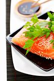 fresh salmon and soy sause