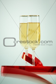 Champagne with ribbon