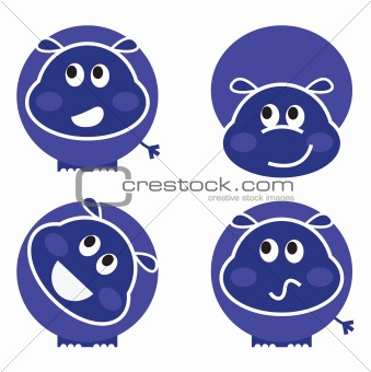 Cute wild hippo set in various poses isolated on white