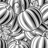 Seamless pumpkin background black and white