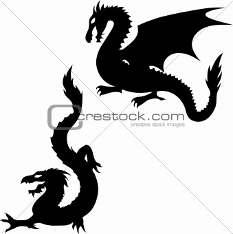 Two Dragon Silhouettes