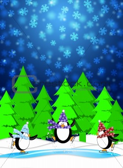 Penguins in Ice Skating Rink Winter Snowing Scene Blue Illustrat