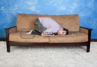 Angry Young Man On Sofa