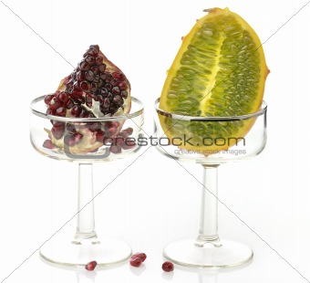 Kiwano Melon And Pomegranate Fruits