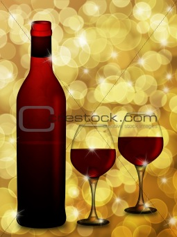 Red Wine Bottle and Two Glasses  with Blurred Background Illustr