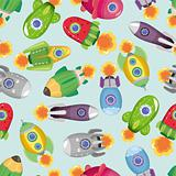 seamless spaceship pattern