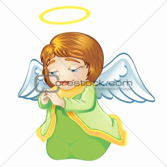 Little angel in green isolated