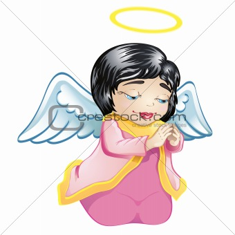 Little angel in pink isolated
