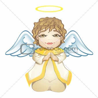 Little angel in white isolated