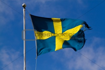 Torn swedish flag