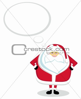 Cartoon Santa thinking