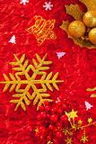 Christmas card snowflake golden and red