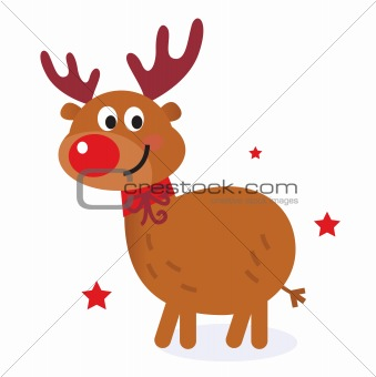 Cute christmas cartoon reindeer isolated on white