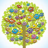 Funny birds and tree