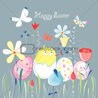Easter greeting card with a chicken