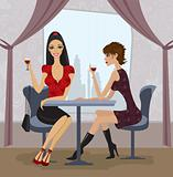 Two women in restaurant