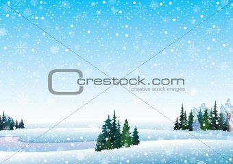 Vector winter landscape