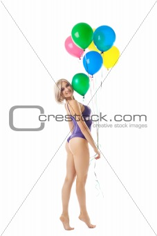 Beauty sexy woman in lingerie with balloons