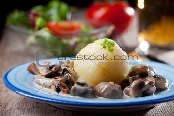 bavarian mushroom sauce with potato dumpling