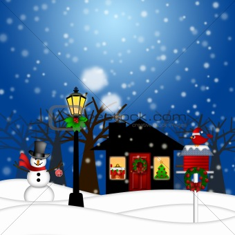House with Lamp Post  Snowman and Birdhouse Christmas Decoration