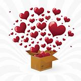 Valentine's day. box with fly hearts