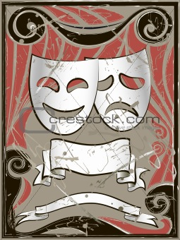 Abstract vintage background with theater masks