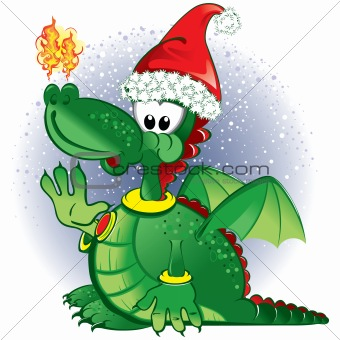 Green funny dragon wearing a Santa hat
