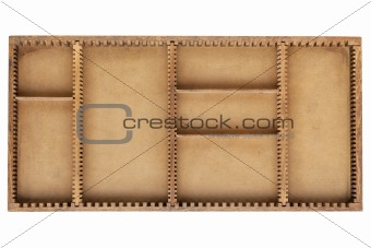 old wood box with dividers