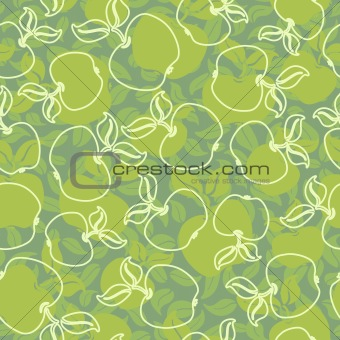 abstract apples with leaves seamless background