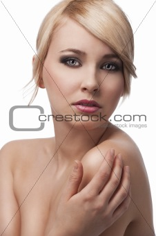 blond young girl with stylish, her right hand is on left shoulde