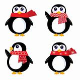 Christmas retro Penguin set isolated on white ( red )