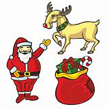 illustration of isolated Christmas items
