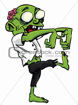 Cartoon zombie with exposed brain. Isolated on white