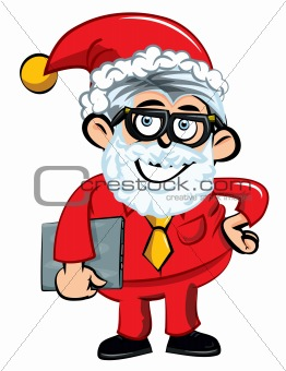 Cartoon Santa office worker. Isolated on white