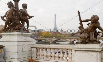 Eiffel Tower Through Statues