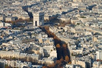 Triumph Arch Area, Paris, From Above
