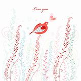 greeting card with a love bird