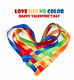 Heart made of intertwined colored ribbons. Symbol of love and Va