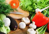 Fresh vegetables on the wooden background