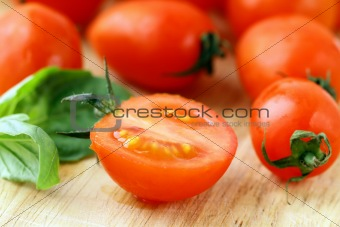Tomatoes Cherry on a  wooden board