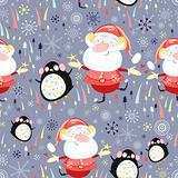 texture of Santa Clauses and penguins
